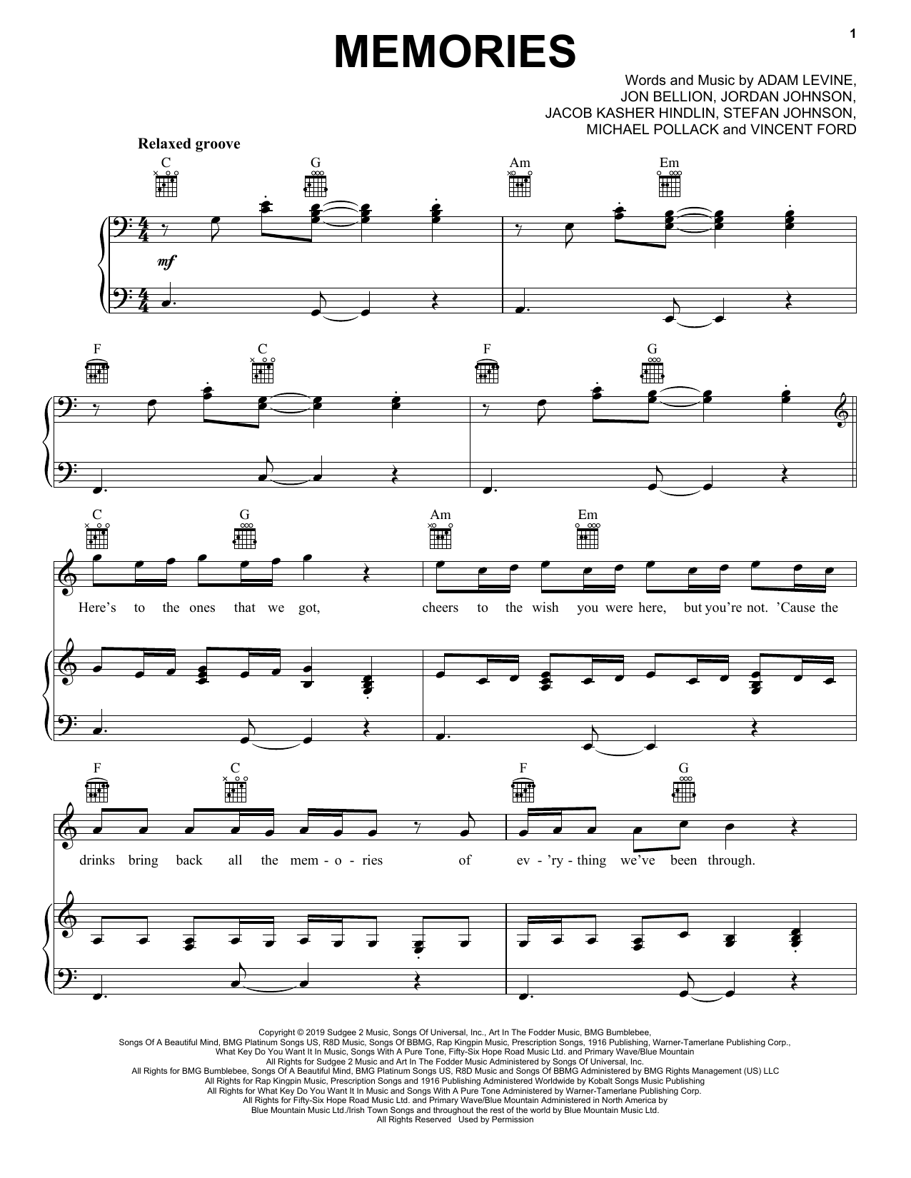 Maroon 5 Memories Sheet Music Notes Download Printable Pdf Scrore