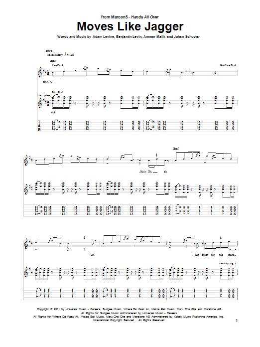 Maroon 5 Moves Like Jagger (feat. Christina Aguilera) sheet music notes and chords
