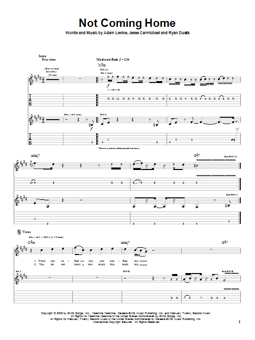 Maroon 5 Not Coming Home sheet music notes and chords. Download Printable PDF.