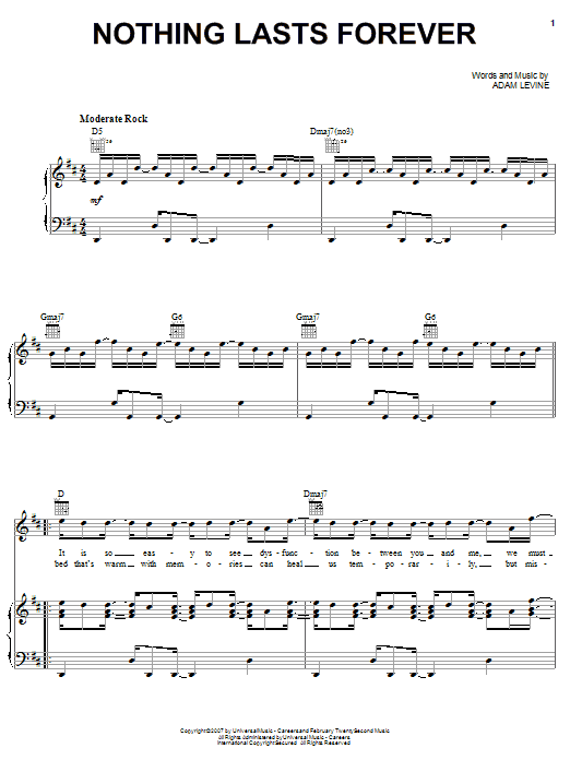 Maroon 5 Nothing Lasts Forever sheet music notes and chords. Download Printable PDF.