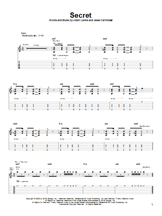Maroon 5 Secret sheet music notes and chords