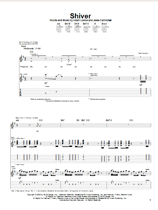Maroon 5 Shiver sheet music notes and chords
