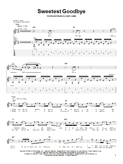 Maroon 5 Sweetest Goodbye sheet music notes and chords. Download Printable PDF.