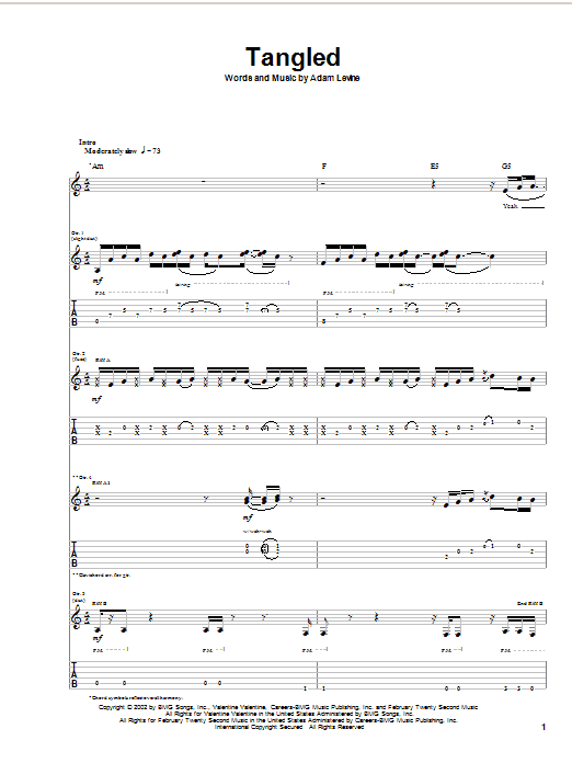 Maroon 5 Tangled sheet music notes and chords