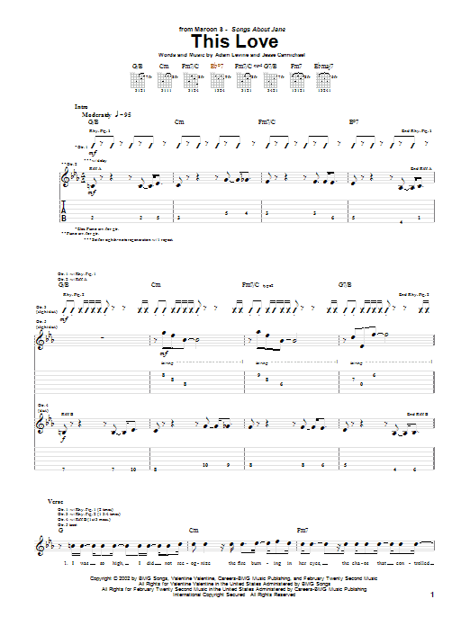 Maroon 5 This Love sheet music notes and chords