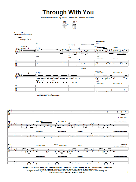 Maroon 5 Through With You sheet music notes and chords