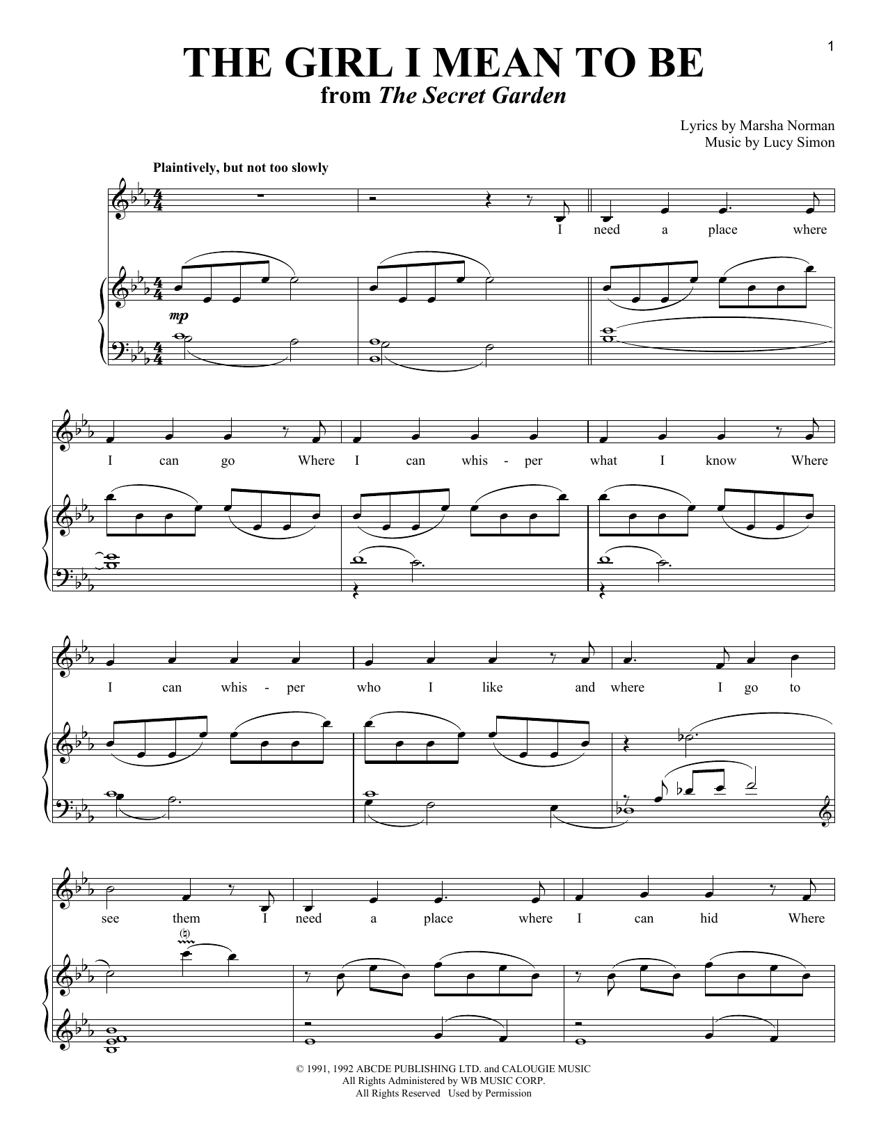 Marsha Norman The Girl I Mean To Be sheet music notes and chords. Download Printable PDF.