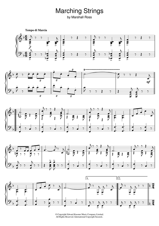 Marshall Ross Marching Strings sheet music notes and chords. Download Printable PDF.