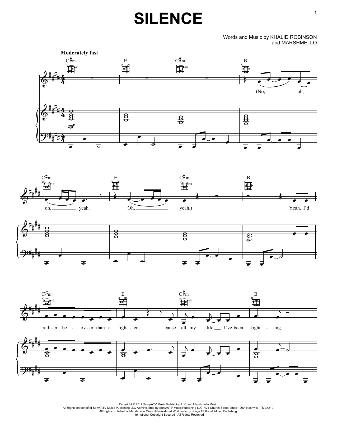 Marshmello Silence (featuring Khalid) sheet music notes and chords