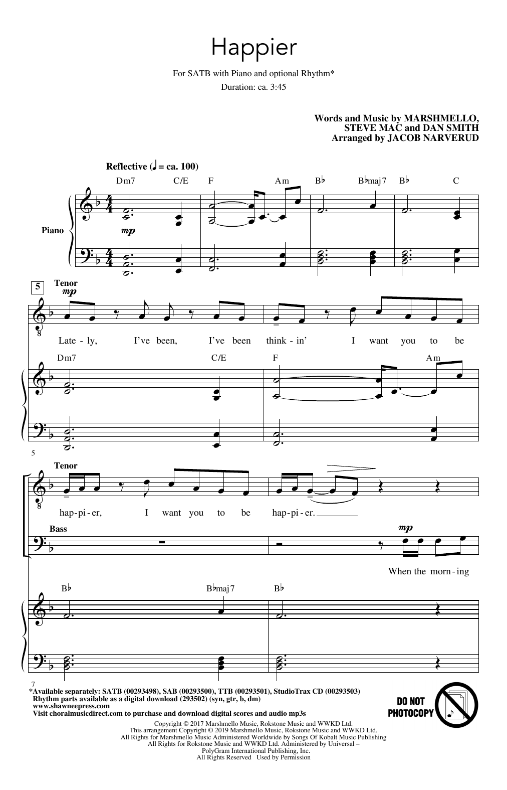 Marshmello & Bastille Happier (arr. Jacob Narverud) sheet music notes and chords