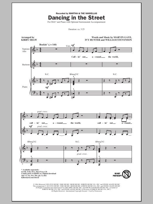 Martha & The Vandellas Dancing In The Street (arr. Kirby Shaw) sheet music notes and chords. Download Printable PDF.