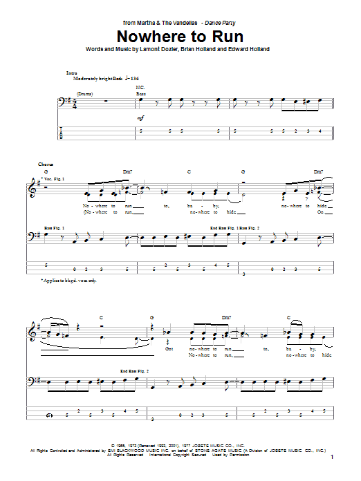 Martha & The Vandellas Nowhere To Run (from Good Morning Vietnam) sheet music notes and chords. Download Printable PDF.