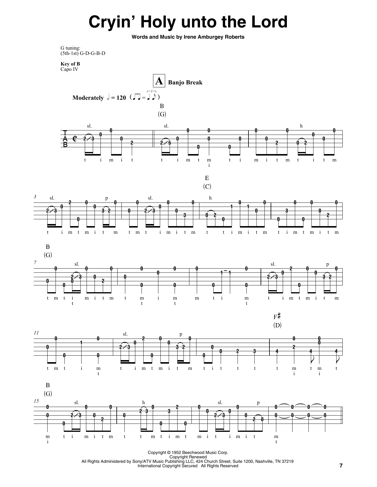 Martha Carson Cryin' Holy Unto The Lord sheet music notes and chords. Download Printable PDF.