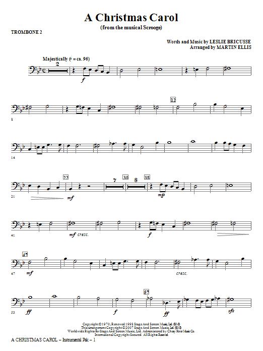 Martin Ellis A Christmas Carol - Trombone 2 sheet music notes and chords. Download Printable PDF.
