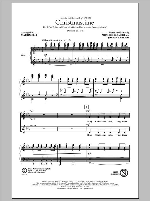 Martin Ellis Christmastime sheet music notes and chords. Download Printable PDF.