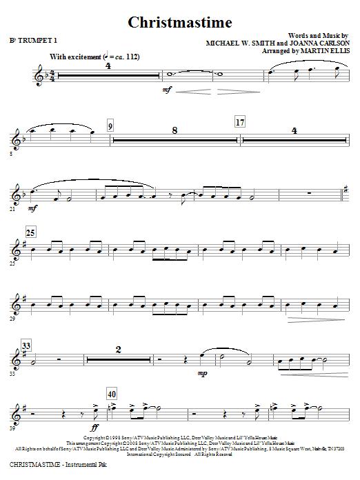 Martin Ellis Christmastime - Bb Trumpet 1 sheet music notes and chords. Download Printable PDF.