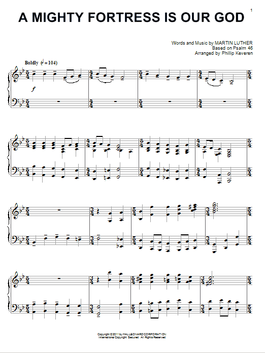 Martin Luther A Mighty Fortress Is Our God [Classical version] (arr. Phillip Keveren) sheet music notes and chords. Download Printable PDF.