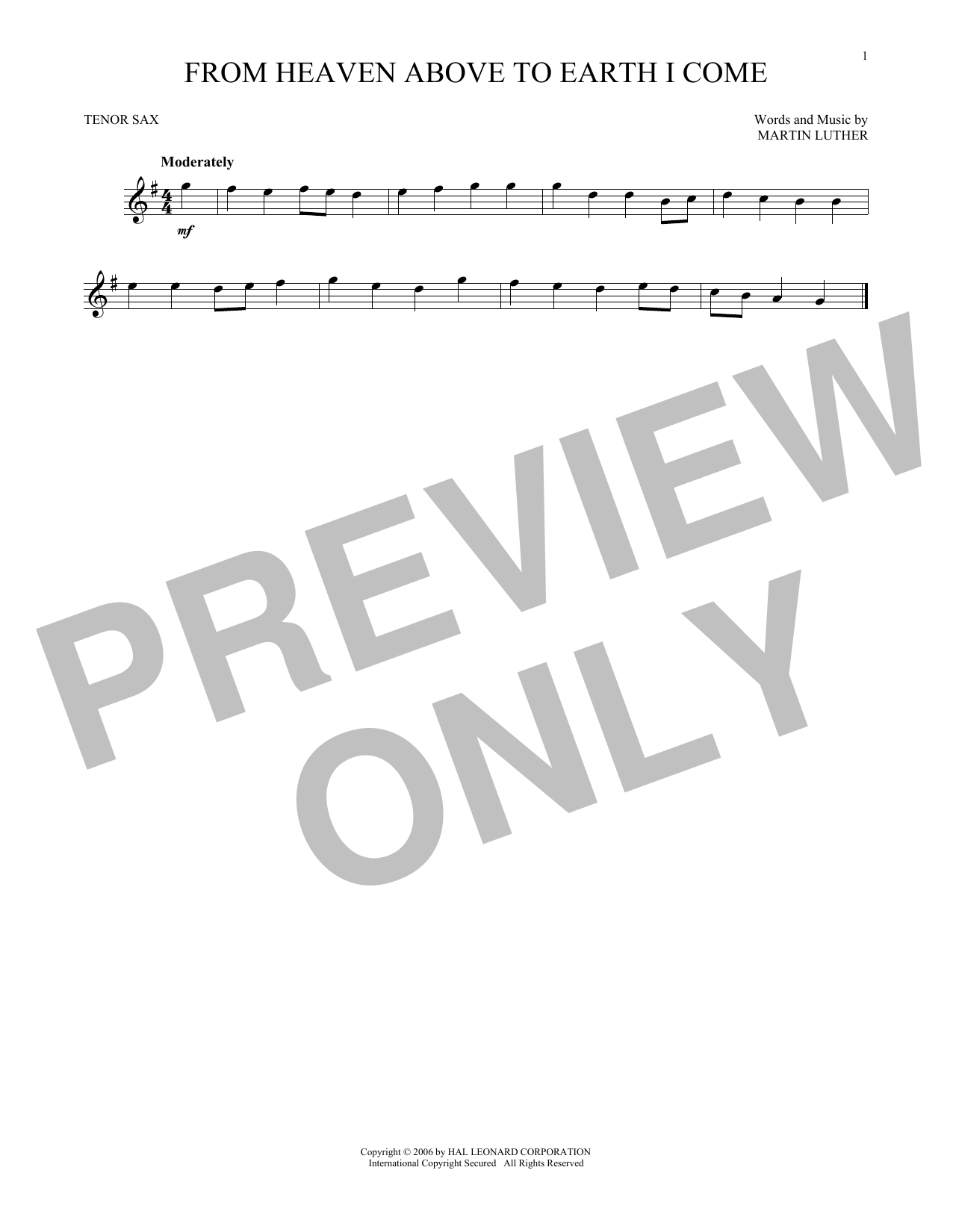 Martin Luther From Heaven Above To Earth I Come sheet music notes and chords. Download Printable PDF.