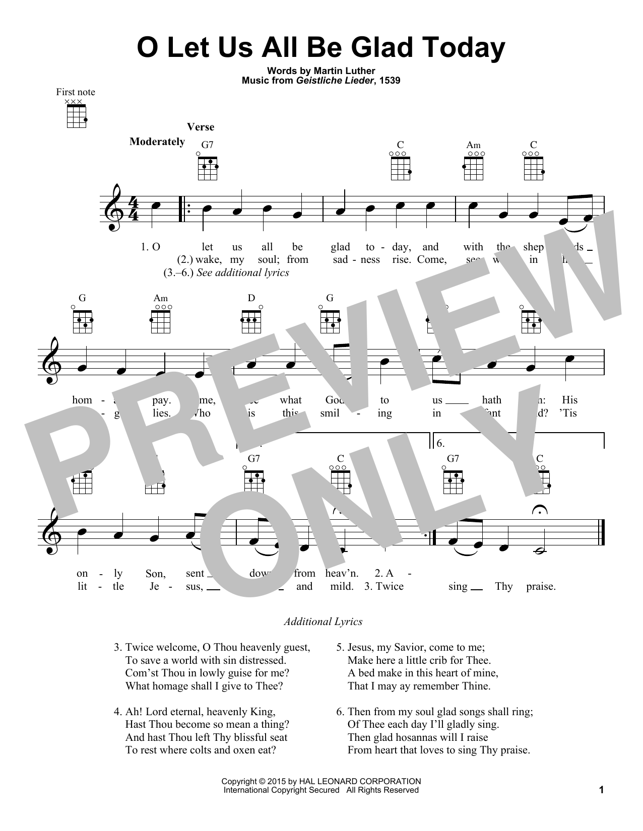 Martin Luther O Let Us All Be Glad Today sheet music notes and chords. Download Printable PDF.