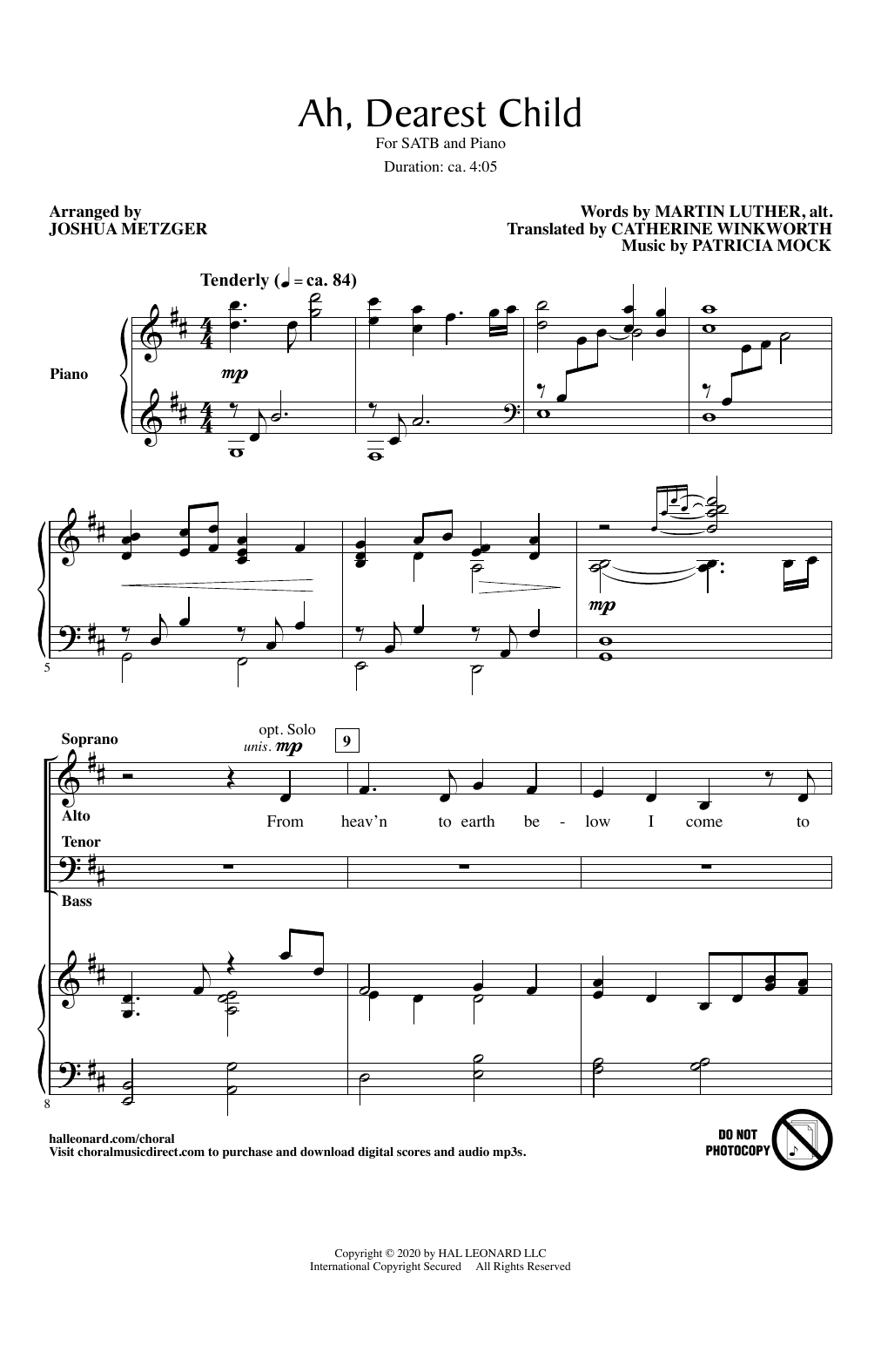 Martin Luther and Patricia Mock Ah, Dearest Child (arr. Joshua Metzger) sheet music notes and chords. Download Printable PDF.