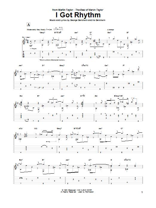 Martin Taylor I Got Rhythm sheet music notes and chords. Download Printable PDF.