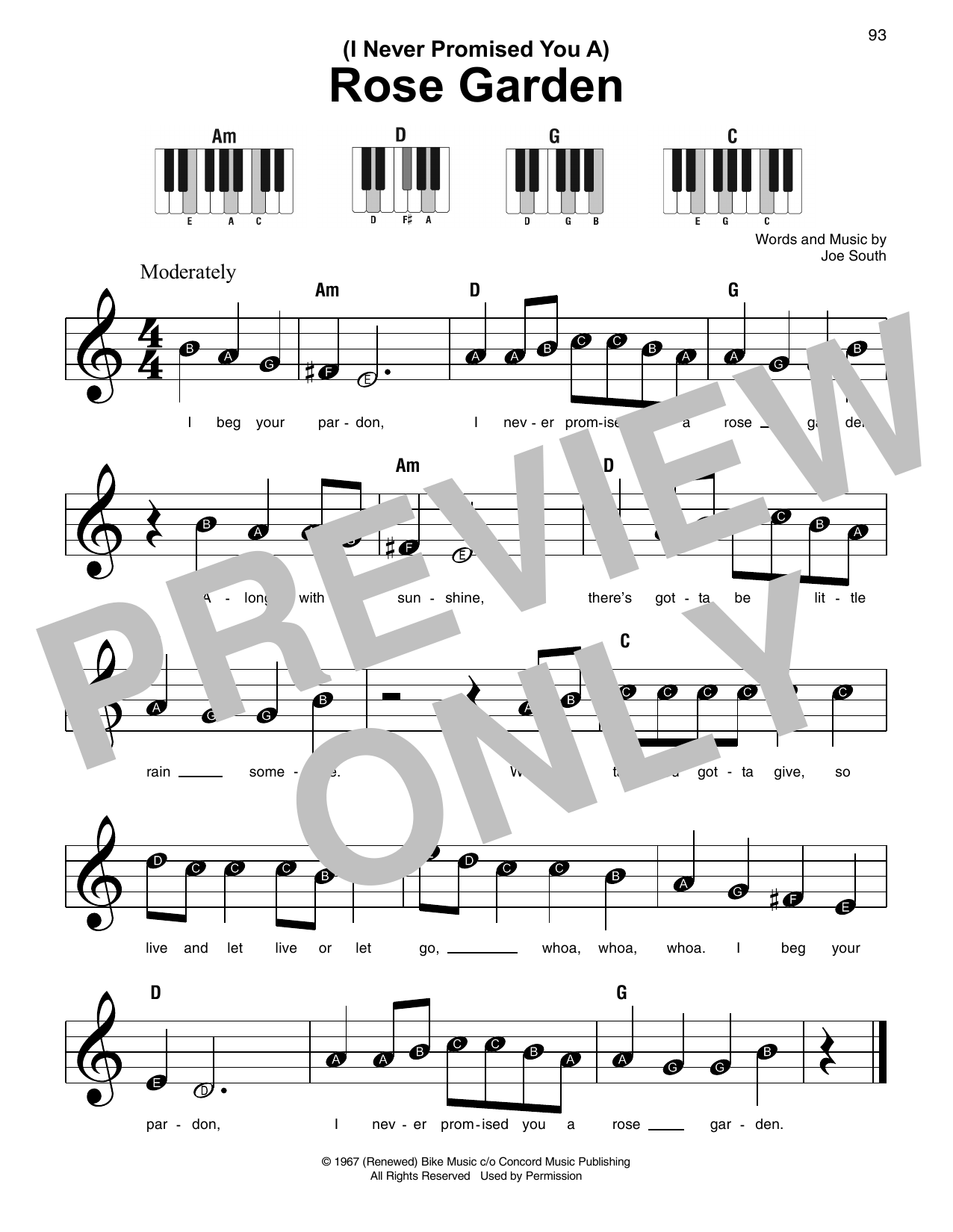 Martina McBride (I Never Promised You A) Rose Garden sheet music notes and chords. Download Printable PDF.