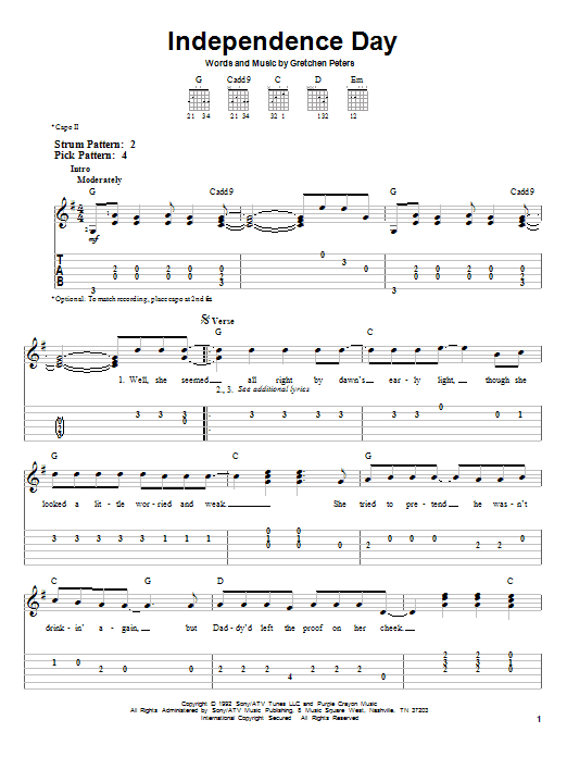 Martina McBride Independence Day sheet music notes and chords. Download Printable PDF.