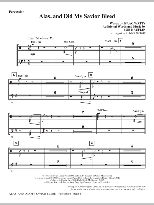 Marty Hamby Alas, And Did My Savior Bleed - Percussion sheet music notes and chords. Download Printable PDF.