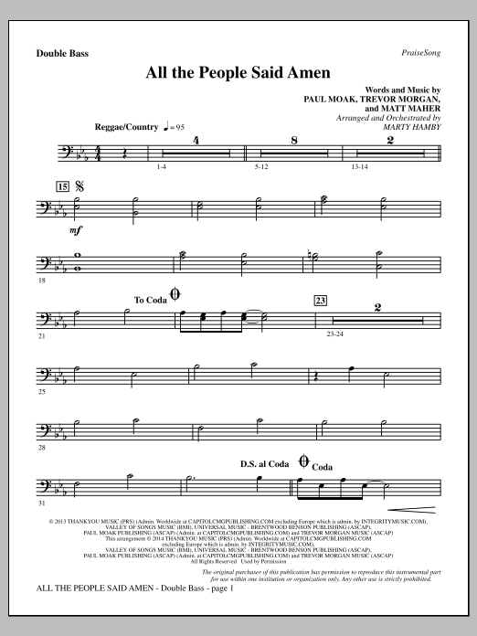 Marty Hamby All the People Said Amen - Double Bass sheet music notes and chords. Download Printable PDF.