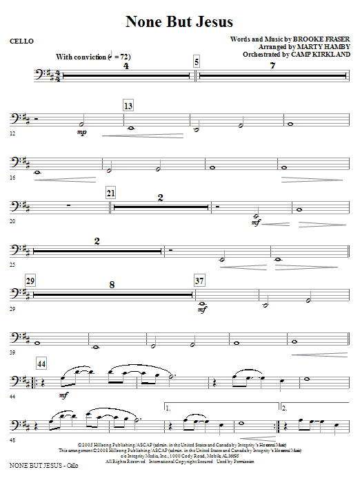 Marty Hamby None But Jesus - Cello sheet music notes and chords. Download Printable PDF.