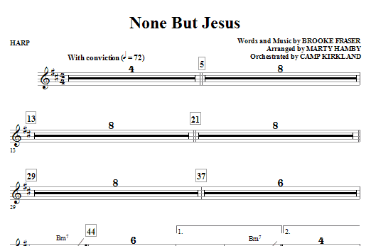 Marty Hamby None But Jesus - Harp sheet music notes and chords. Download Printable PDF.
