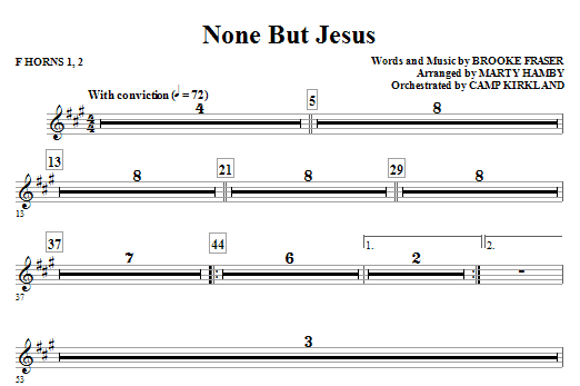 Marty Hamby None But Jesus - Horn 1 & 2 sheet music notes and chords. Download Printable PDF.