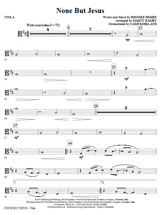 Marty Hamby None But Jesus - Viola sheet music notes and chords. Download Printable PDF.
