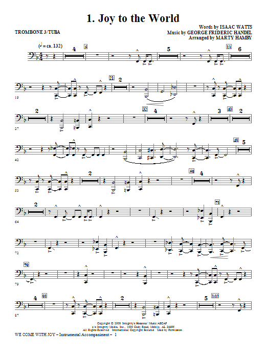 Marty Hamby We Come With Joy Orchestration - Trombone 3/Tuba sheet music notes and chords. Download Printable PDF.
