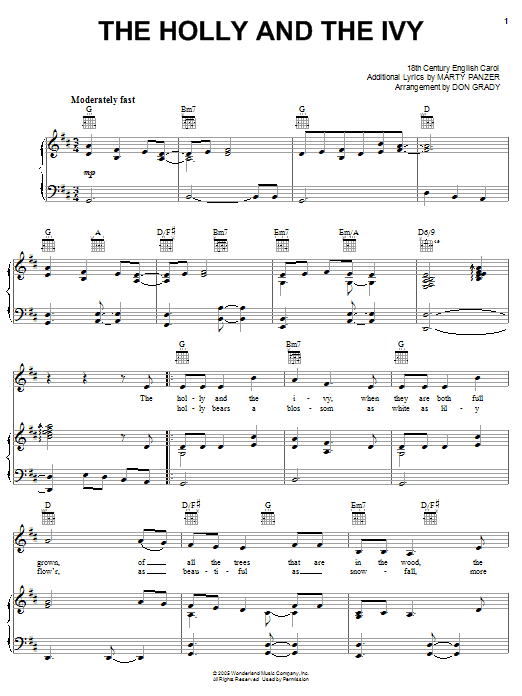 Marty Panzer The Holly And The Ivy sheet music notes and chords