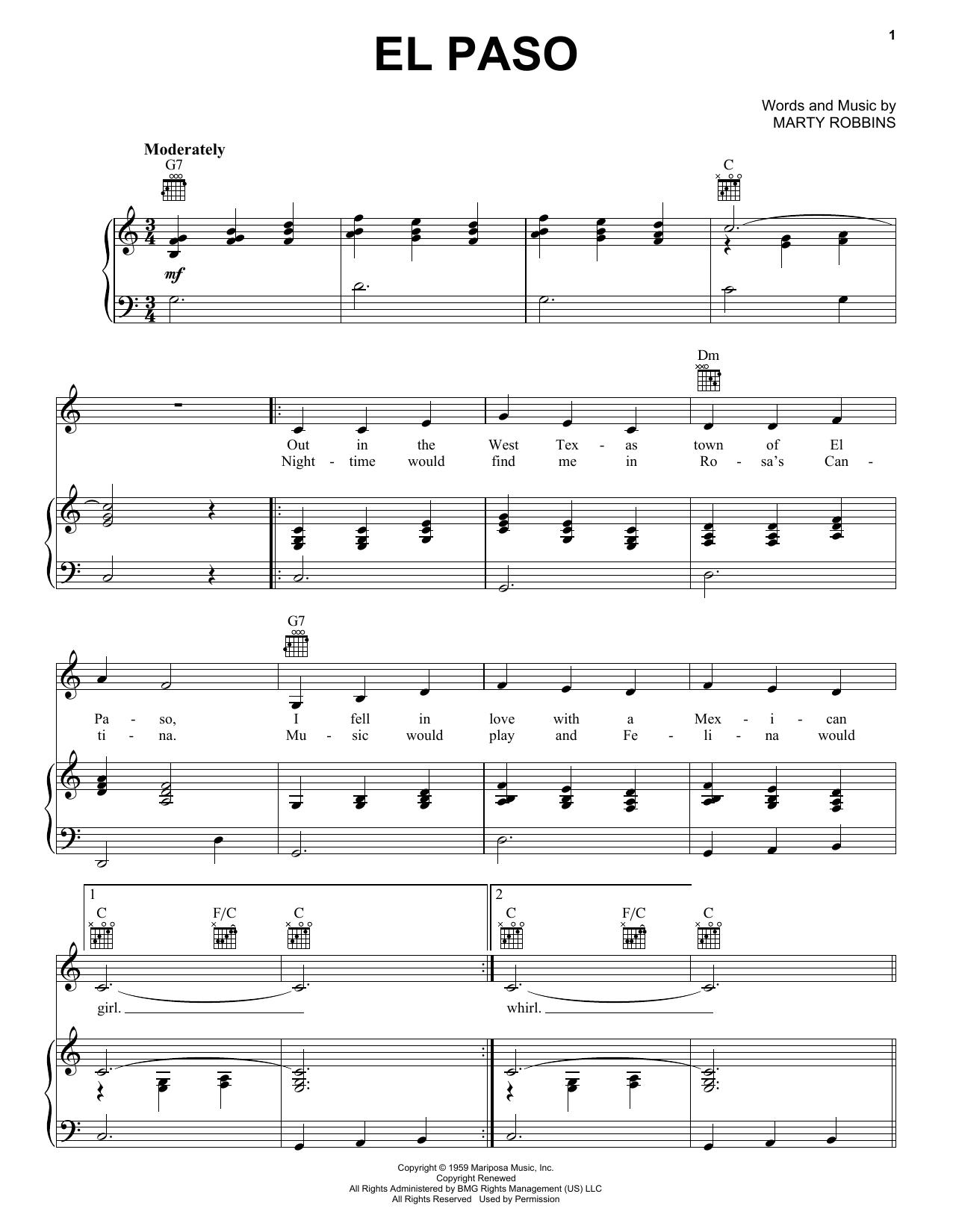 Marty Robbins El Paso sheet music notes and chords. Download Printable PDF.