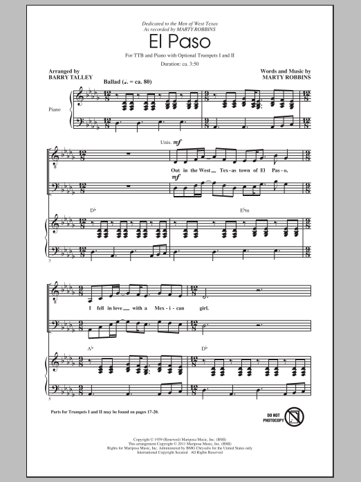 Marty Robbins El Paso (arr. Barry Talley) sheet music notes and chords. Download Printable PDF.
