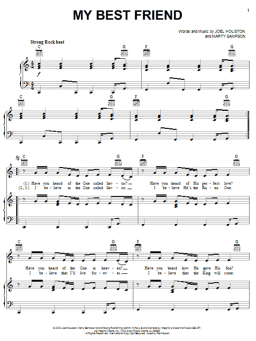 Marty Sampson My Best Friend sheet music notes and chords. Download Printable PDF.