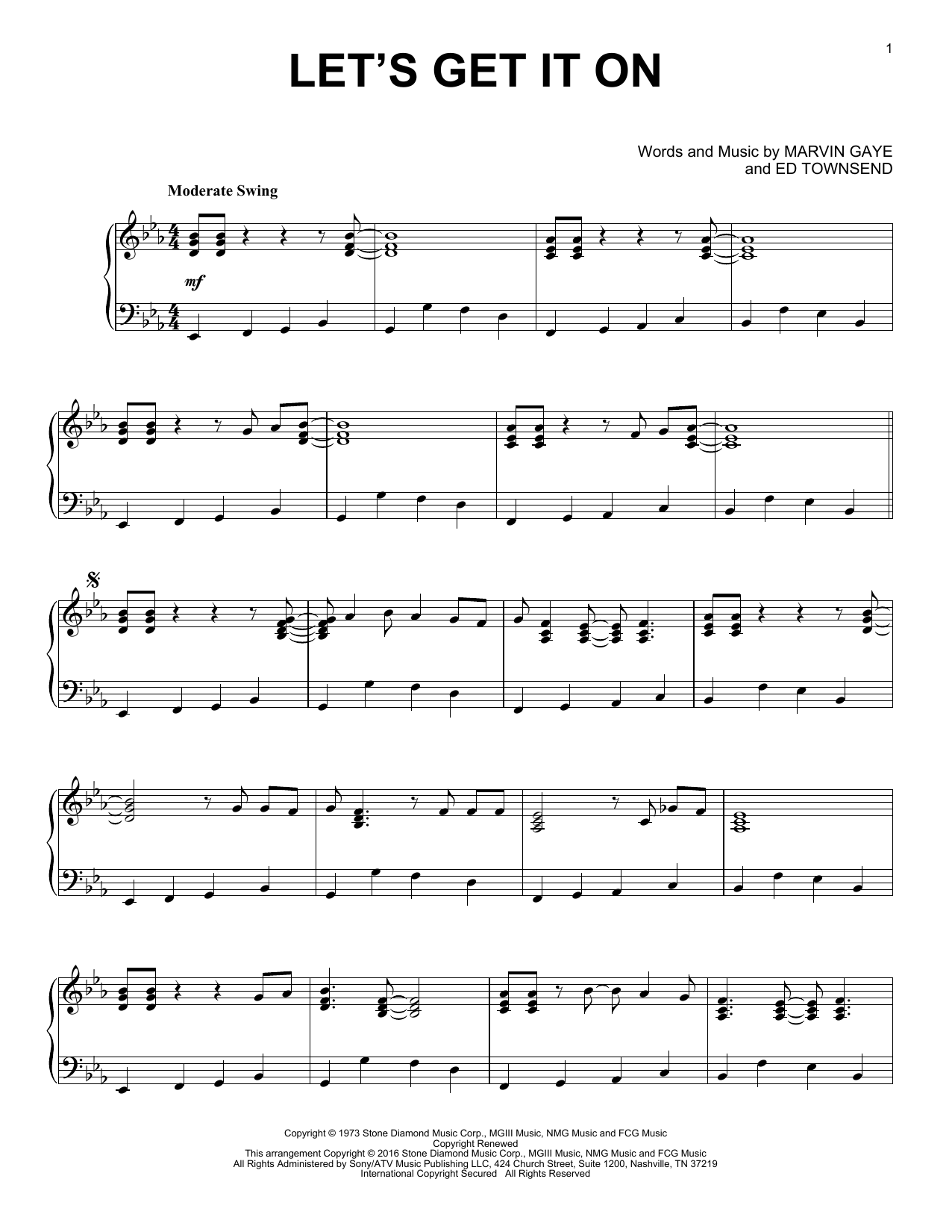 Marvin Gaye Let's Get It On [Jazz version] sheet music notes and chords. Download Printable PDF.