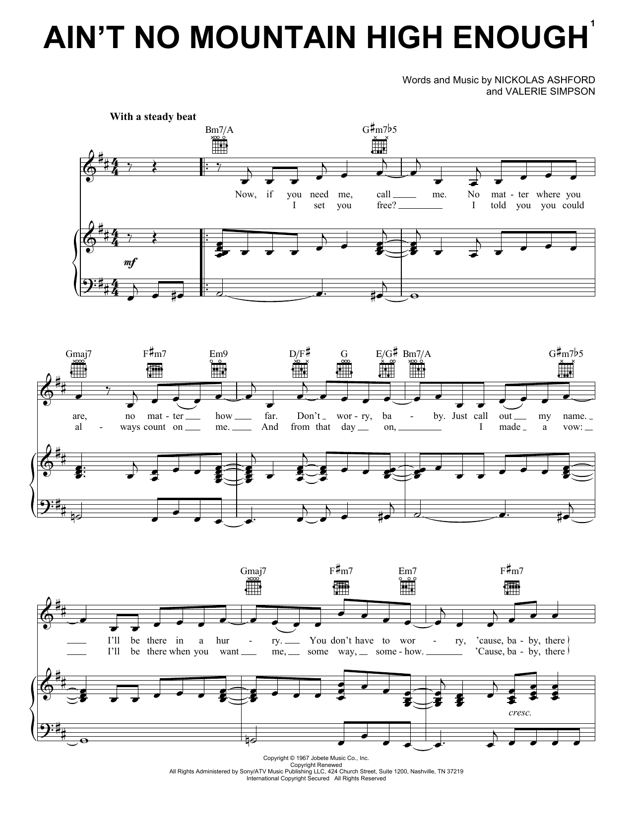 Marvin Gaye & Tammi Terrell Ain't No Mountain High Enough sheet music notes and chords. Download Printable PDF.