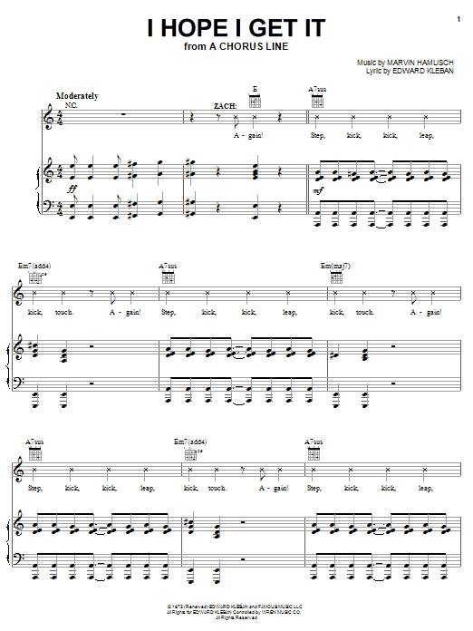 Marvin Hamlisch I Hope I Get It sheet music notes and chords. Download Printable PDF.