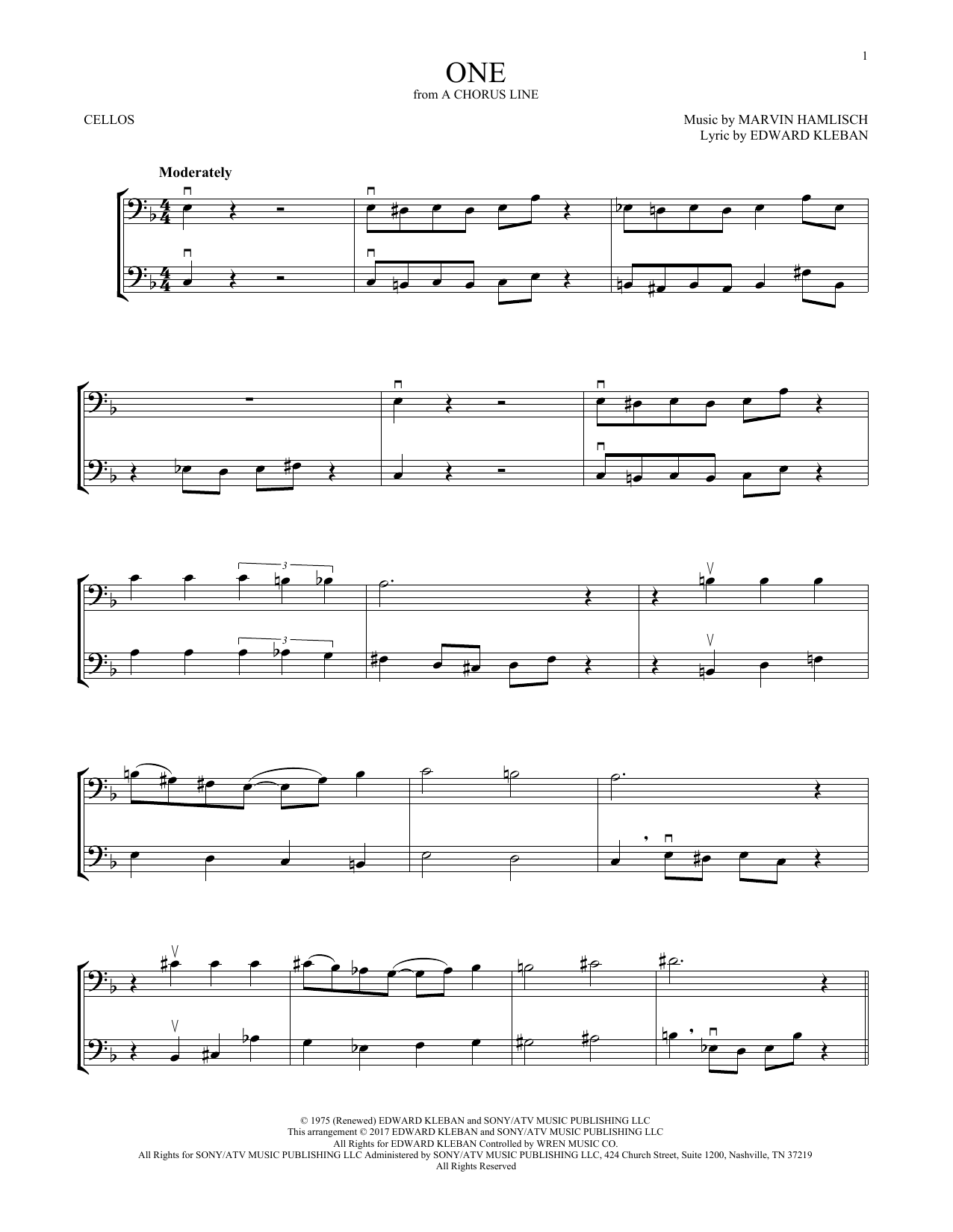 Marvin Hamlisch One (from A Chorus Line) sheet music notes and chords. Download Printable PDF.