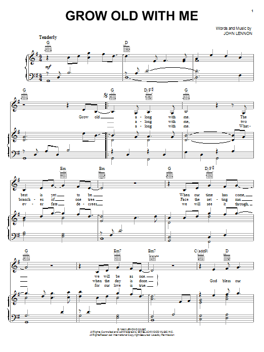 Mary Chapin Carpenter Grow Old With Me sheet music notes and chords