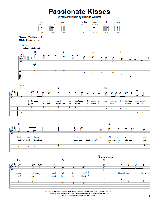 Mary Chapin Carpenter Passionate Kisses sheet music notes and chords. Download Printable PDF.