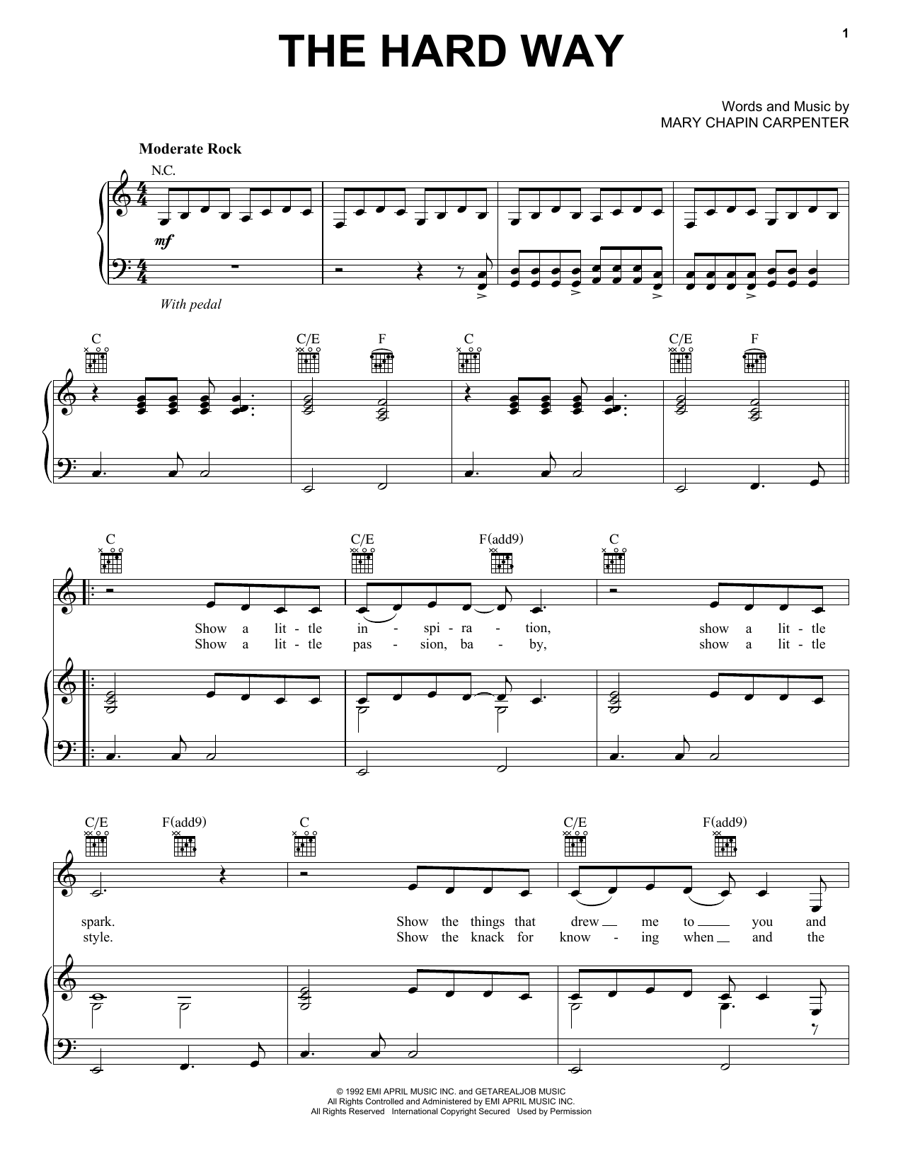 Mary Chapin Carpenter The Hard Way sheet music notes and chords. Download Printable PDF.