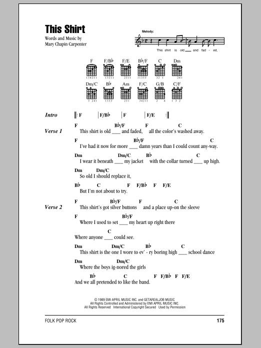 Mary Chapin Carpenter This Shirt sheet music notes and chords. Download Printable PDF.