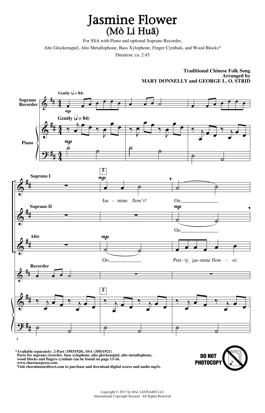 Mary Donnelly Jasmine Flower (Mo Li Hua) sheet music notes and chords