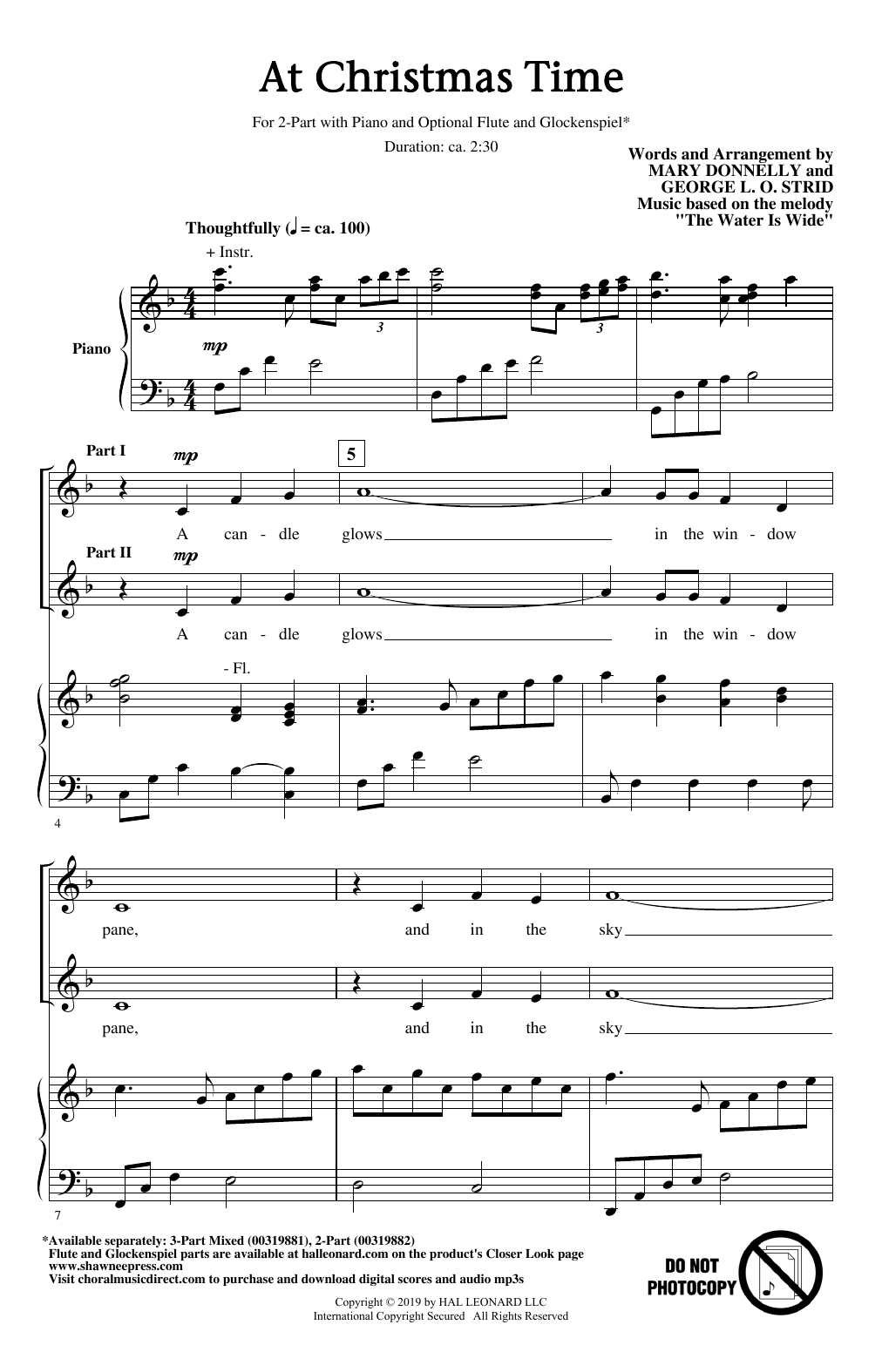 Mary Donnelly and George L.O. Strid At Christmas Time sheet music notes and chords. Download Printable PDF.