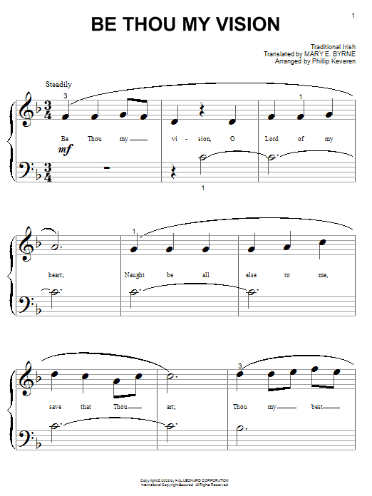 Mary E. Byrne Be Thou My Vision sheet music notes and chords