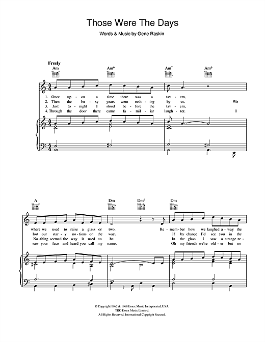 Mary Hopkin Those Were The Days sheet music notes and chords. Download Printable PDF.